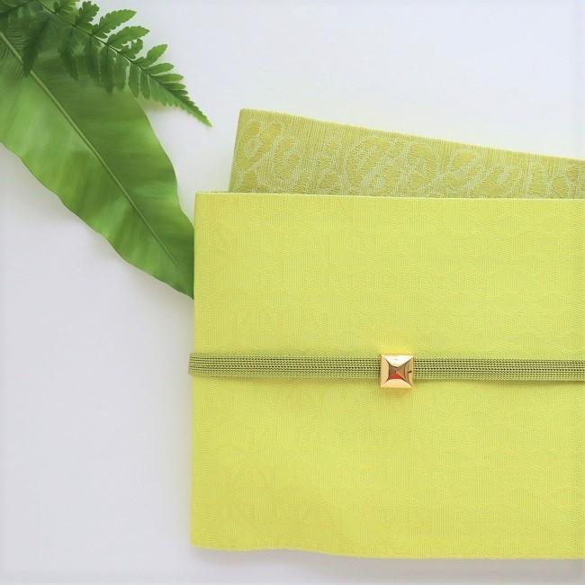 半巾帯 黄色に麻の葉×ヒョウ柄 リバーシブル