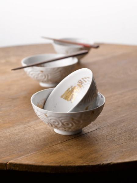 深甚文白磁金彩飯茶碗(大)(小)4-2-I