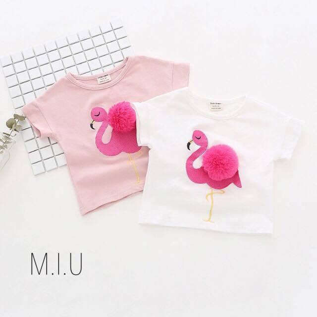 ポンポン付きフラミンゴTシャツ #MIU499