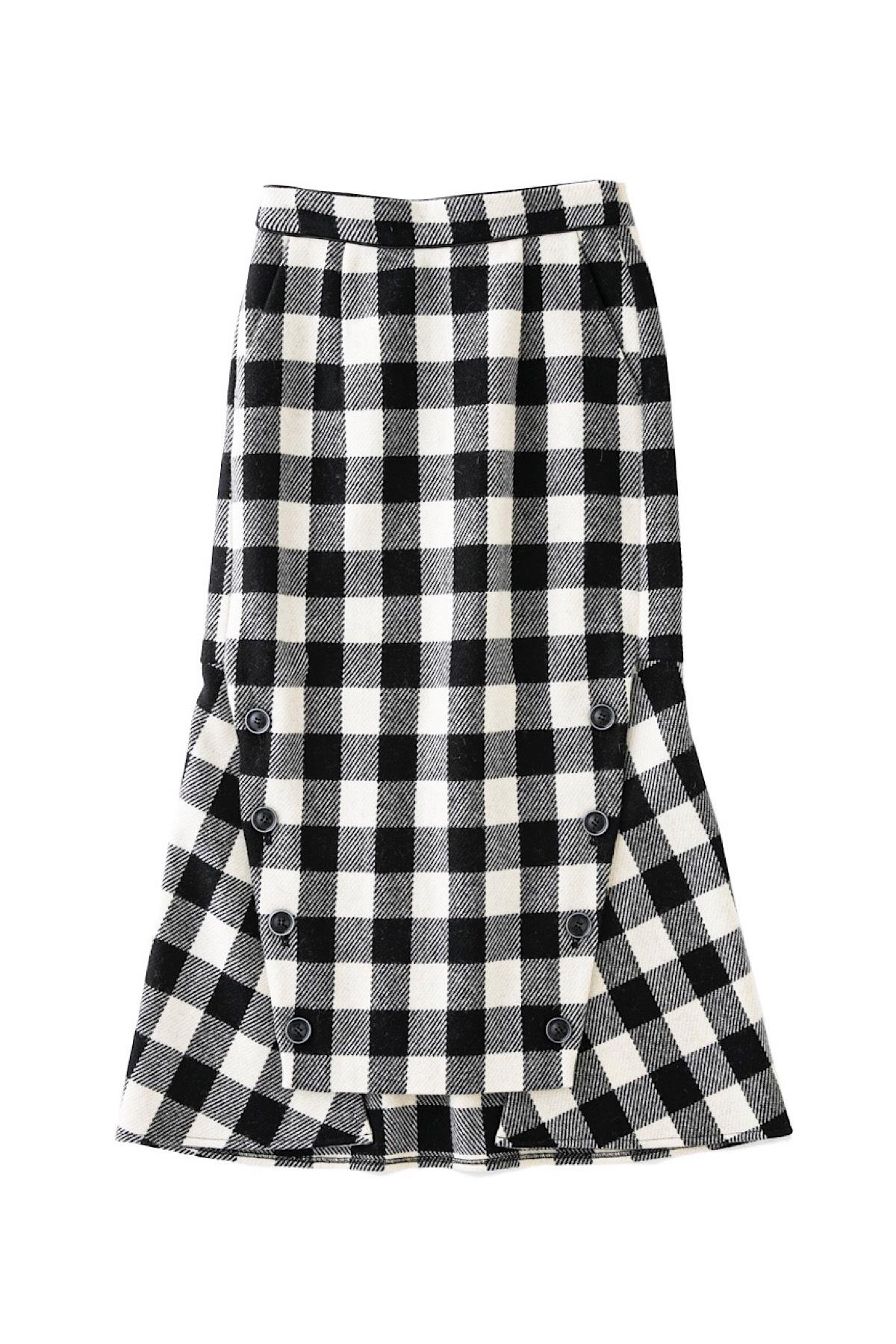 マーメイドチェックウールスカート <ブラック>