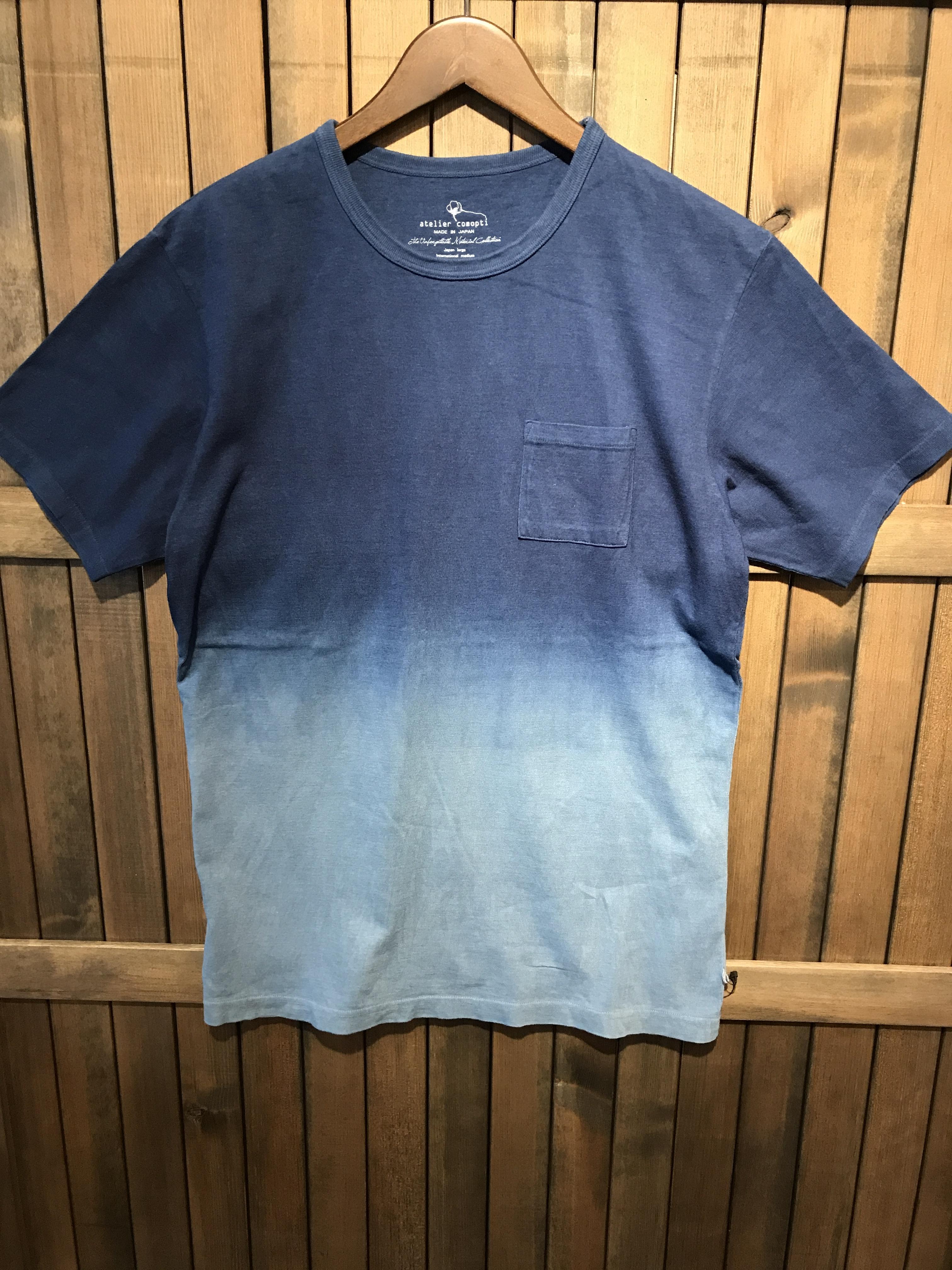atelier comopti USAコットン16/-吊り編み天竺×自然建て琉球藍染めポケットTシャツ AISORA