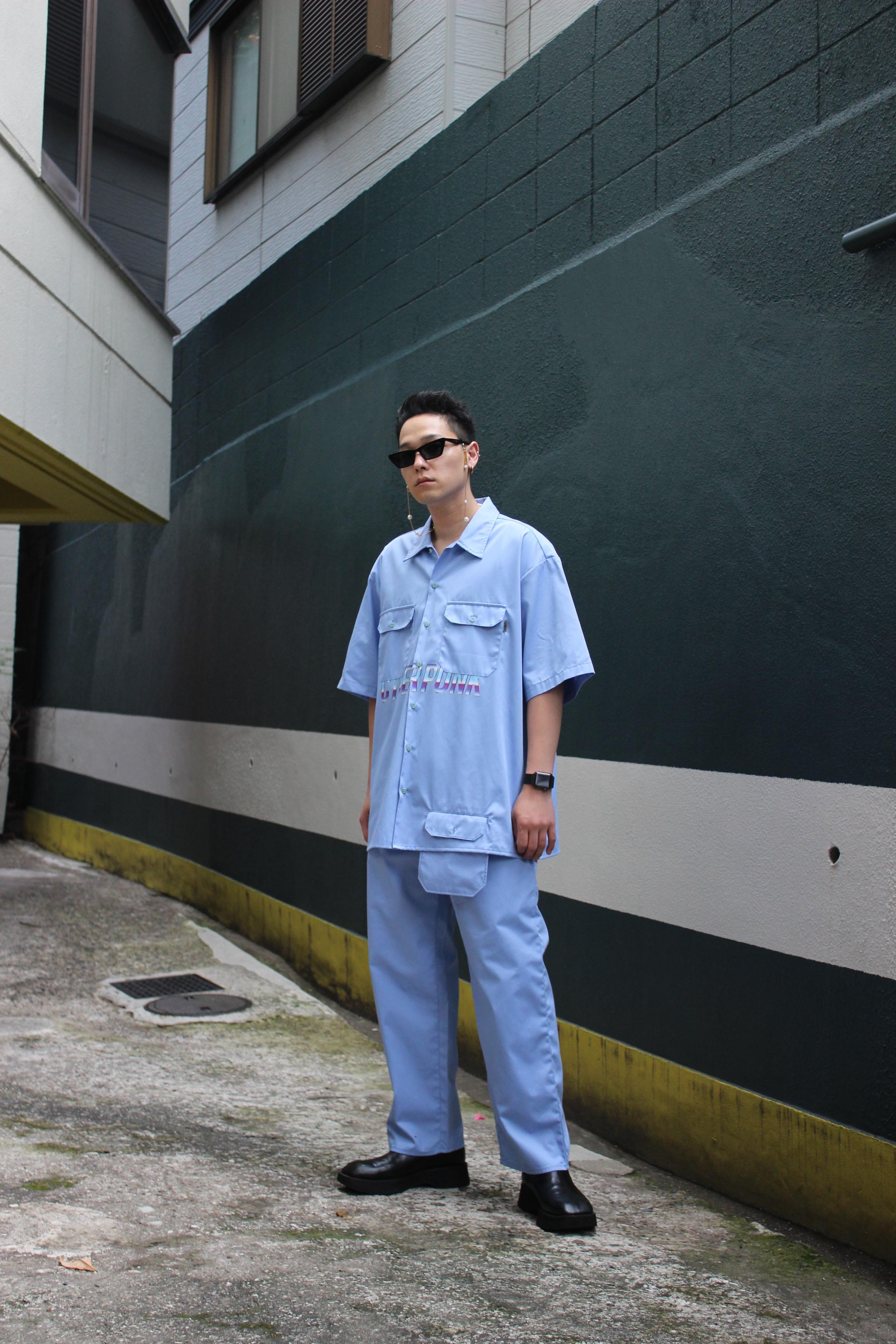 CYBER PUNK work shirt / BLUE - 画像3