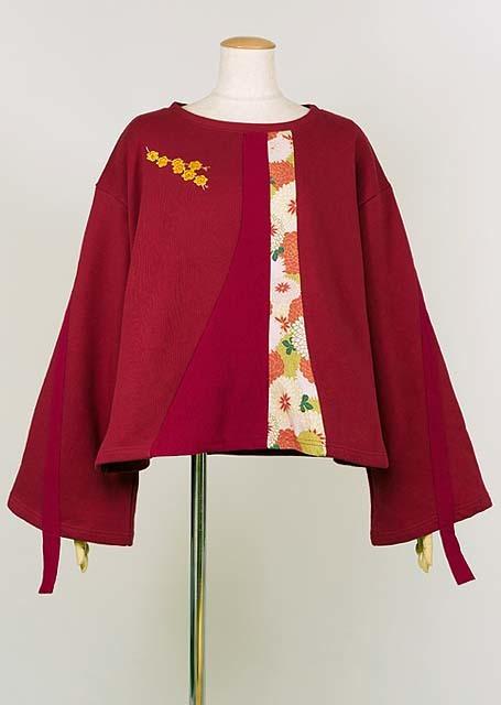 gouk 黄梅の刺繍が入った和柄切り替えのトレーナー GGD27-T034 RD/M