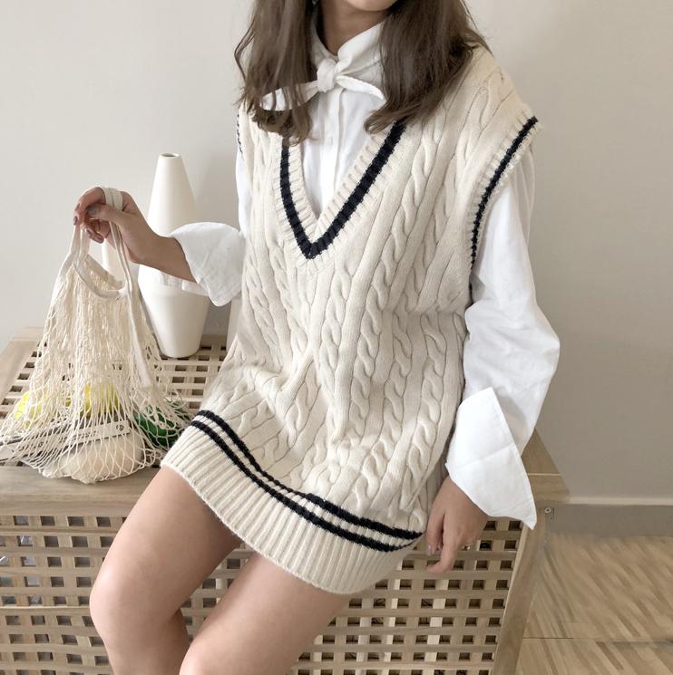 【送料無料】大人可愛い ♡ カジュアル きれいめ ケーブル編み ニット ベスト