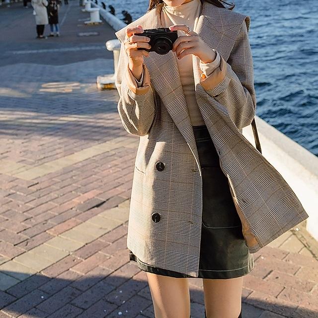 売れ筋☆おすすめ☆ アウター チェック セーラーカラー レトロ ジャケット スーツ ダブルボタン 長袖 ライトグレー レトロチェック