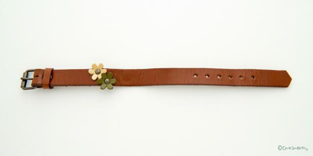 ワンポイントベルト茶色グリーン花M