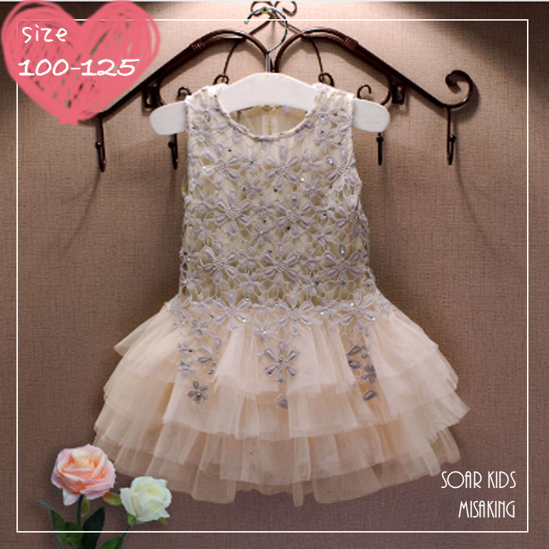 0963f4369212e アウトレット⭐ 送料無料 ベージュレースドレス 女の子 結婚式 フォーマルドレス海外子供服