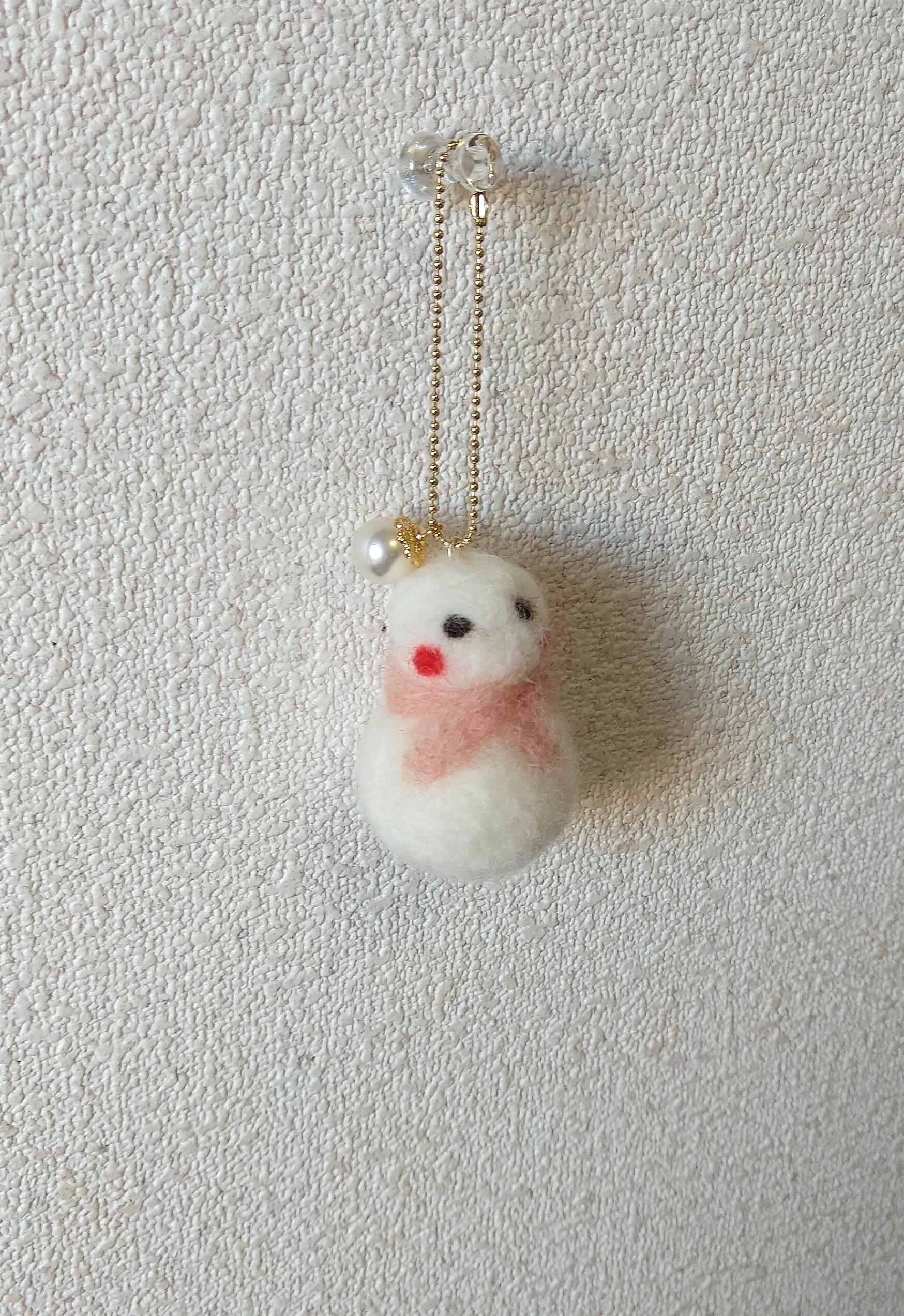羊毛の雪だるま コットンパール付き
