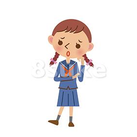 イラスト素材:困っているセーラー服姿の女子中学生・高校生(ベクター・JPG)