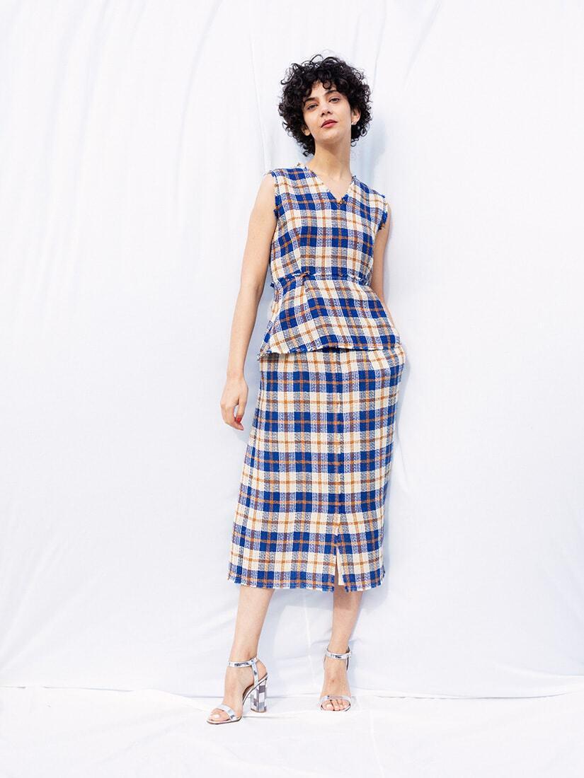 linen checked skirt