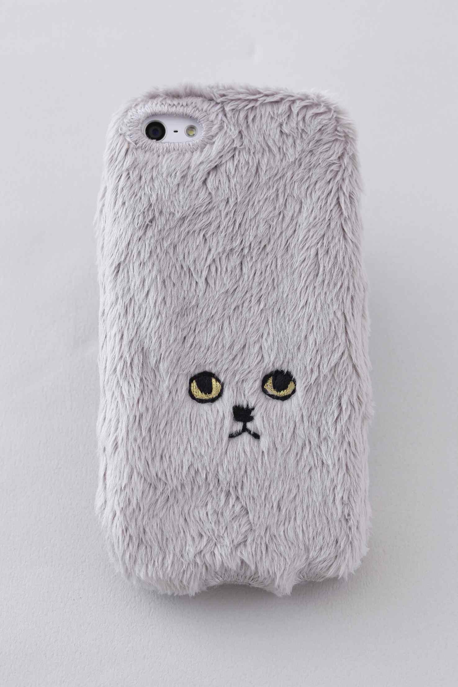 ネコiPhone5/5c/5sカバー 【 グレーゴールドアイ】
