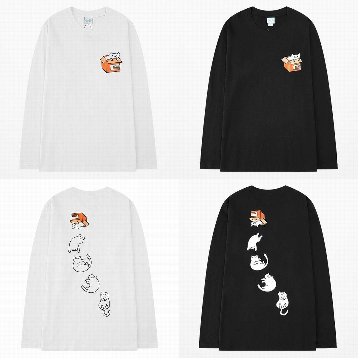 ユニセックス 長袖 Tシャツ メンズ レディース ネコ バックプリント ラウンドネック オーバーサイズ 大きいサイズ ストリート