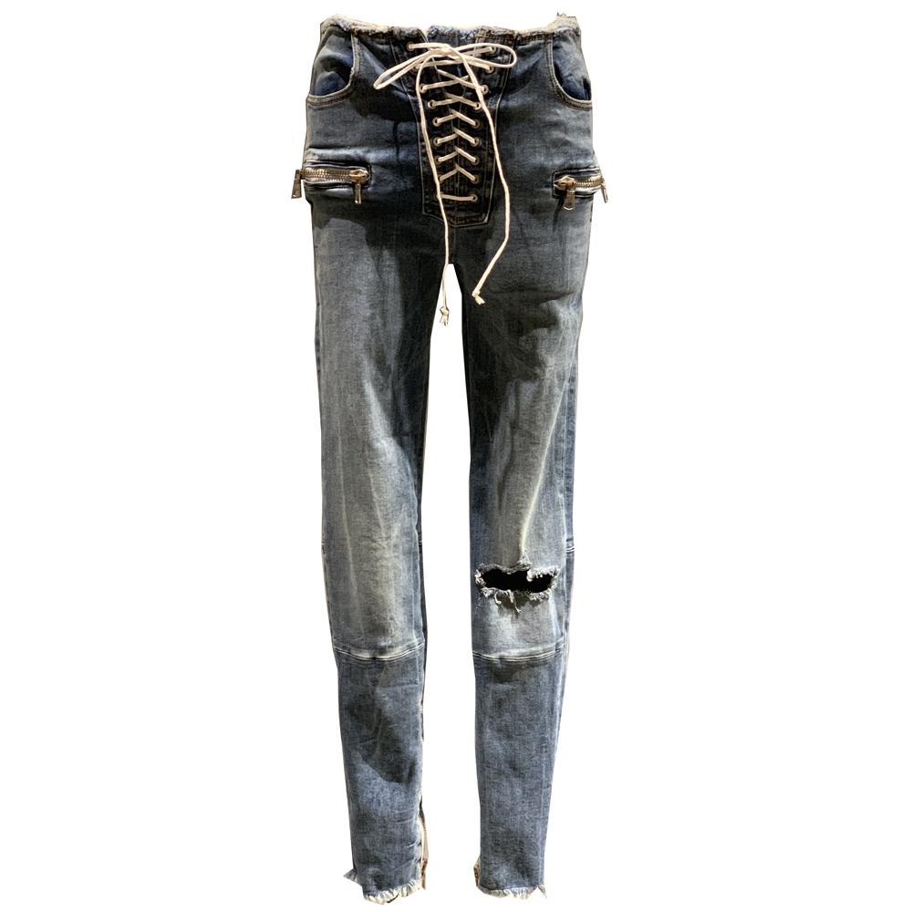 BEN TAVERNITI UNRAVEL Crashed Skinny Jeans Blue