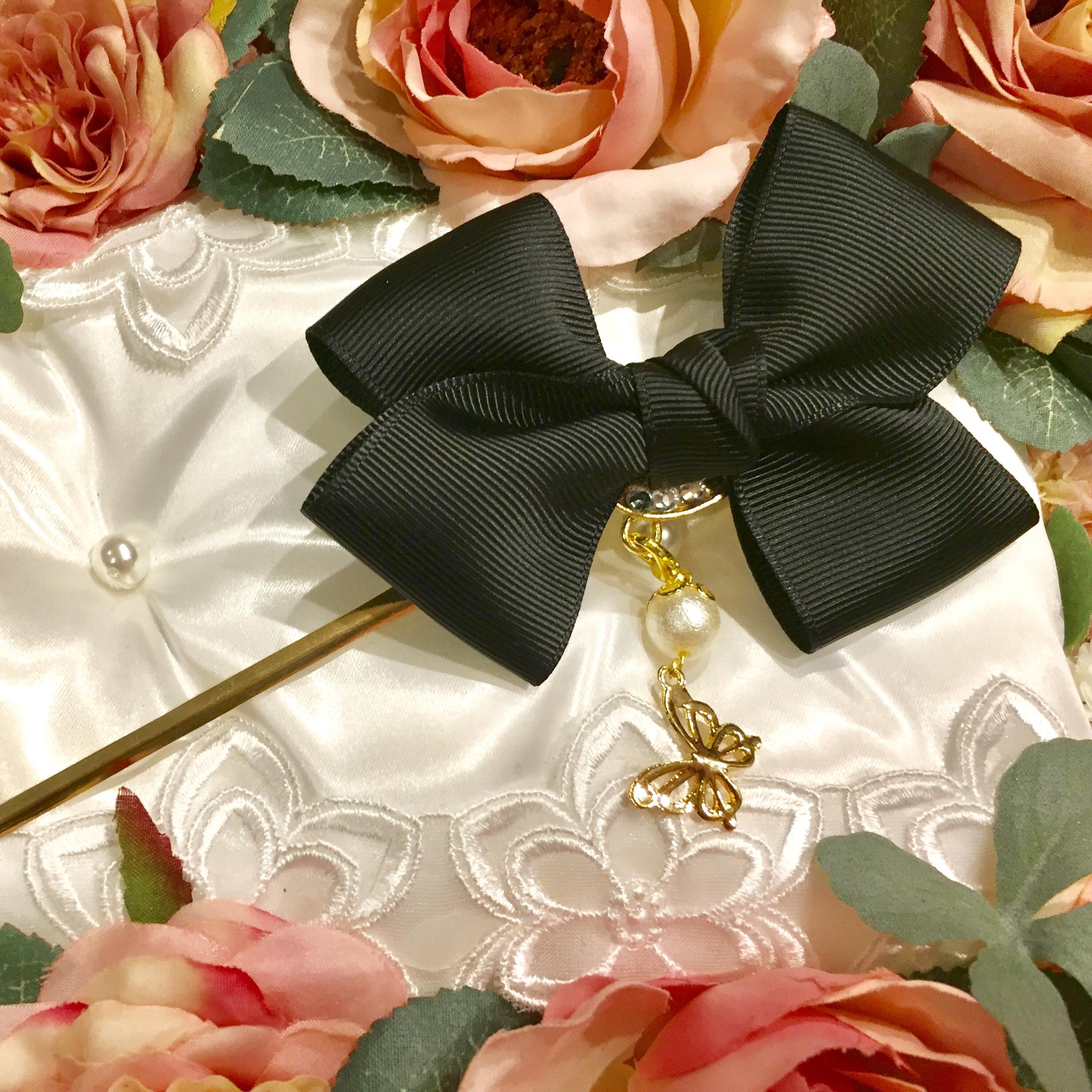 和装・洋装兼用❤️取り外せるチャームの2wayかんざし・黒