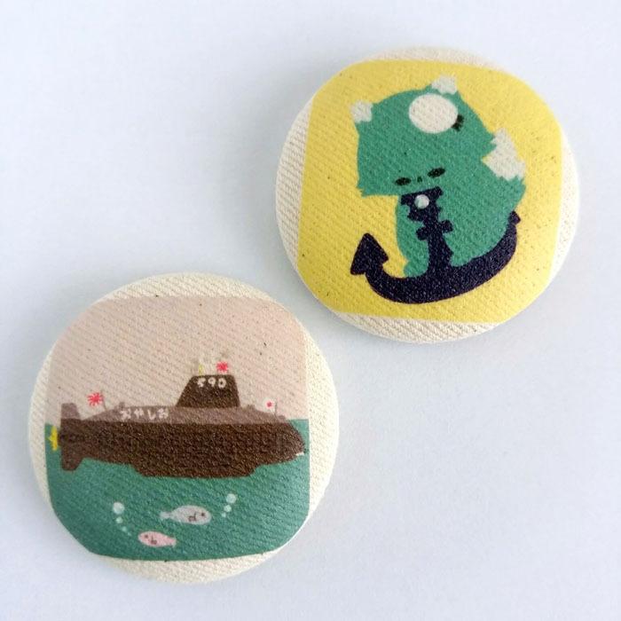 海自猫マグネット 陸海空ねこ&装備品くるみボタンマグネット-海-【改】