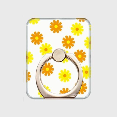 昭和デザイン花(黄・橙) / スマホリング