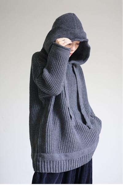 dropdrop ユニセックス パーカー ニット セーター ざっくり  プルオーバー 重ね着