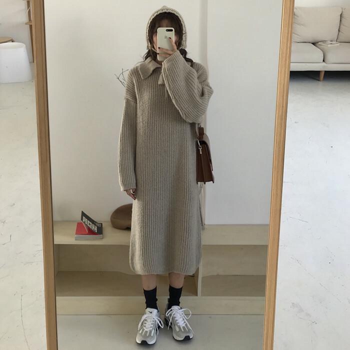 【送料無料】ナチュカジ ニットワンピ ♡ ナチュラル カジュアル 畦編み 襟付き ロング ニット ワンピース