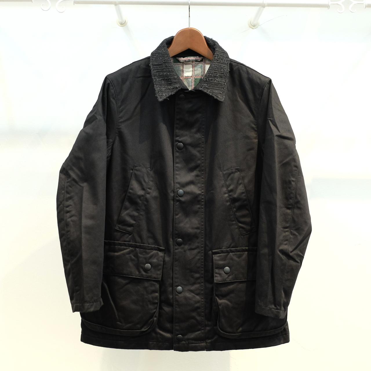 KUON(クオン) 襟裂織りフィールドジャケット(裏吉野格子) ブラックチノ
