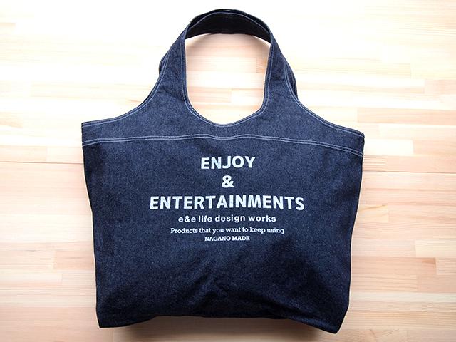 """ショッピングショルダーバッグ(TOTE BAG DENIM """"ENJOY & ENTERTAINMENTS"""")"""