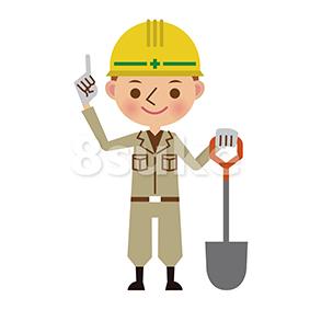 イラスト素材:シャベルを持って指差しする土木工事の作業員(ベクター・JPG)