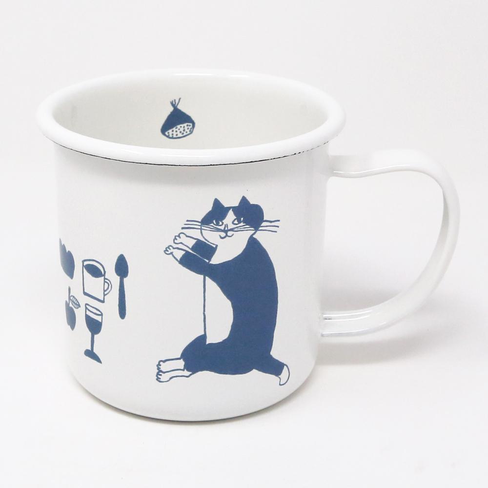猫マグカップ(トラネコボンボンほうろうマグ)B柄