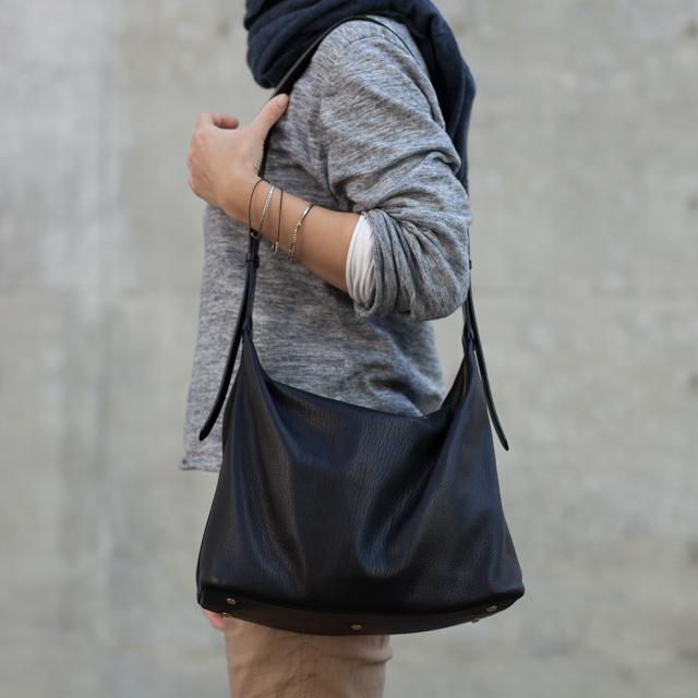 【受注製作】革のショルダーバッグ ブラック
