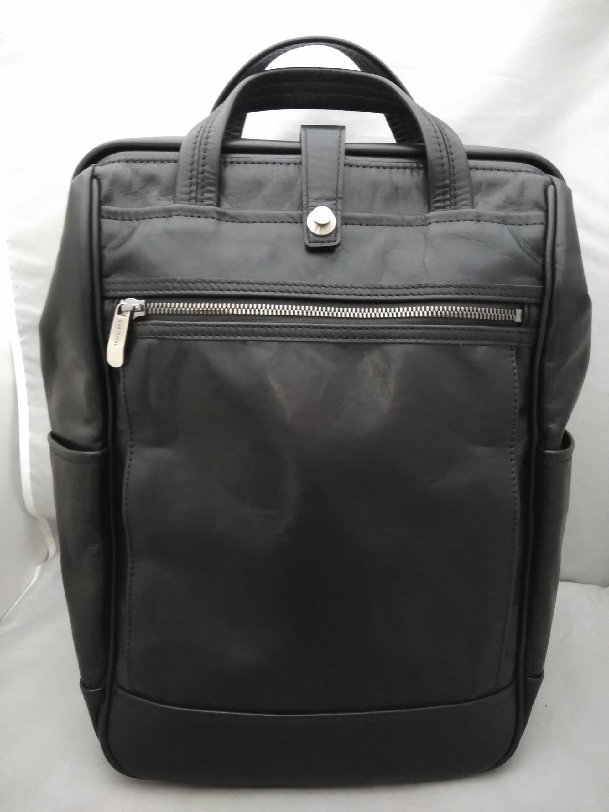 ARTPHERE 豊岡鞄 革 リュック バッグ がま口 黒 mu981c