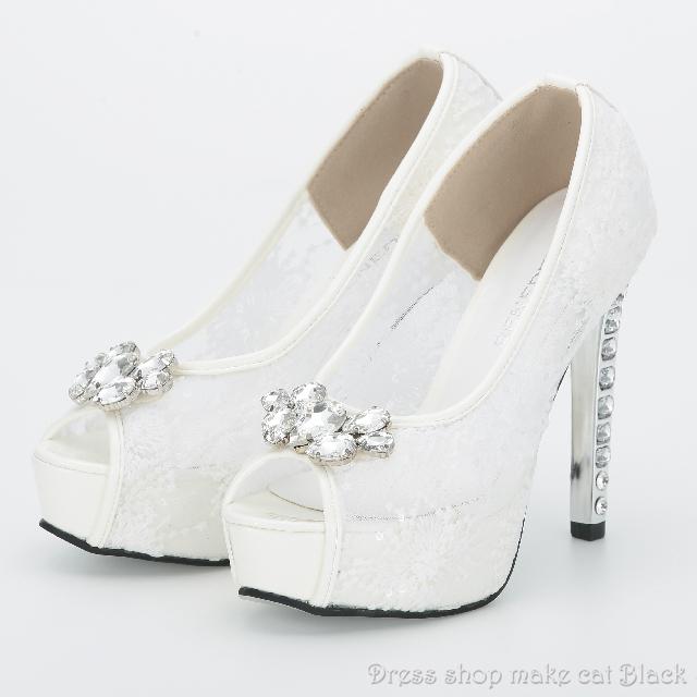 ネット限定SALE!! 13cmヒールのオープントゥパンプス¥7.452-→¥3.950-(税込み) ma-815006  ドレス 結婚式 パーティー お呼ばれ
