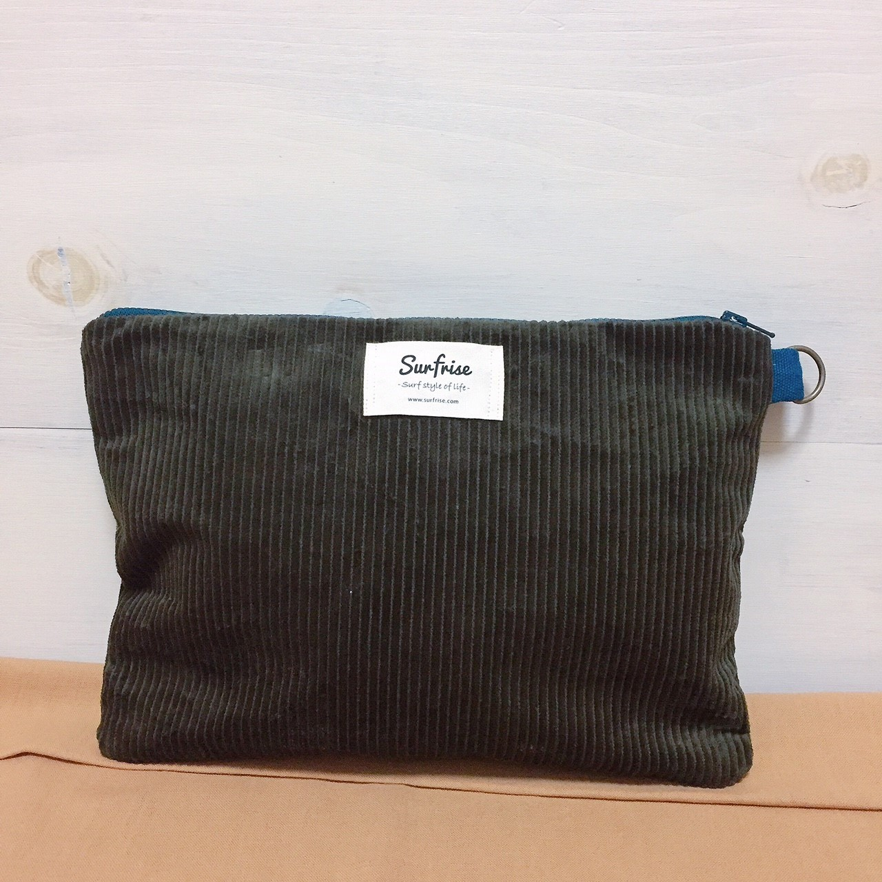 Corduroy clutch bag - Dark green