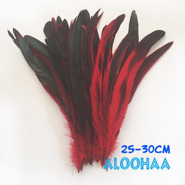 ロングフェザー 【赤】25~30cm タヒチアン 衣装 材料 ルースターテール 染め 羽根