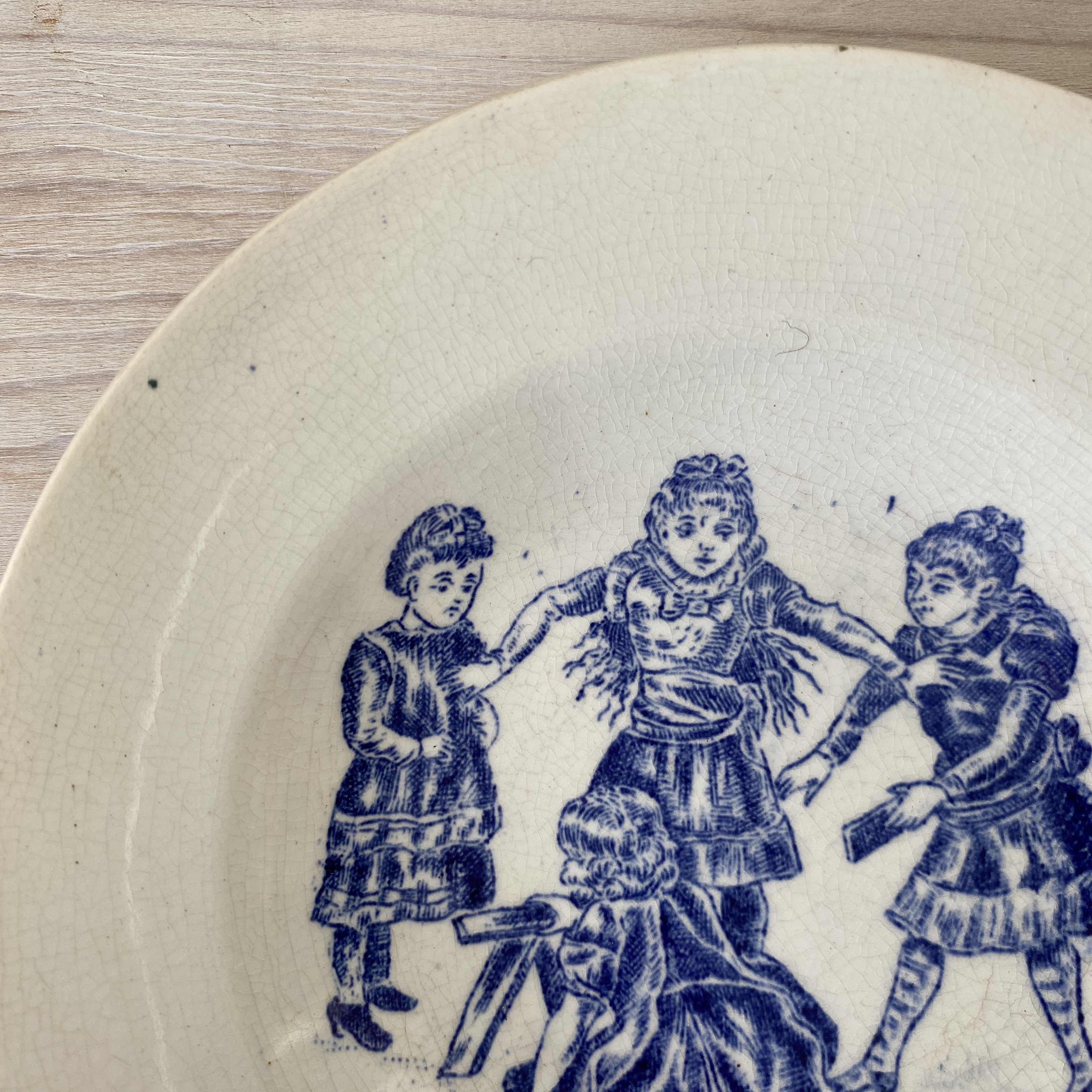 France ままごと・子供柄スーププレート(積木遊び) / aa0063