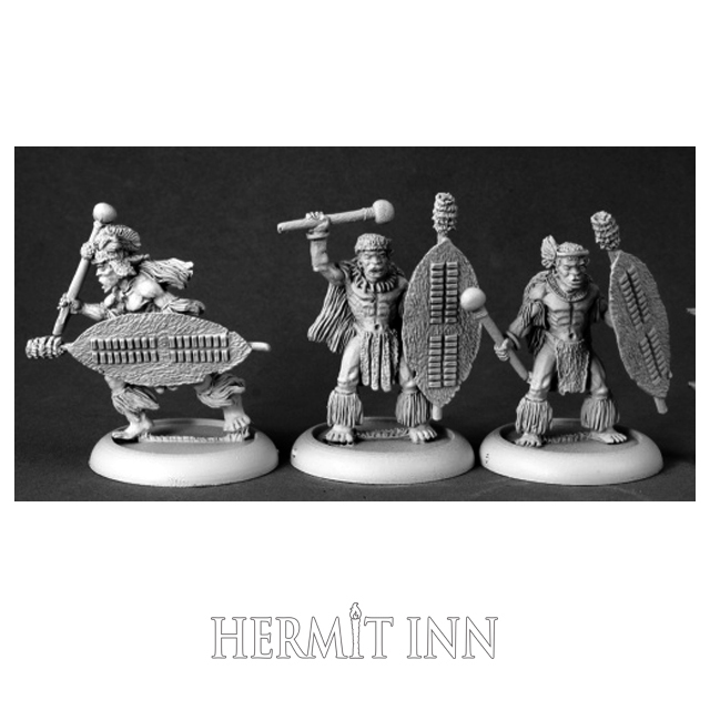 人食い部族の戦士たち/棍棒(3体) - 画像1