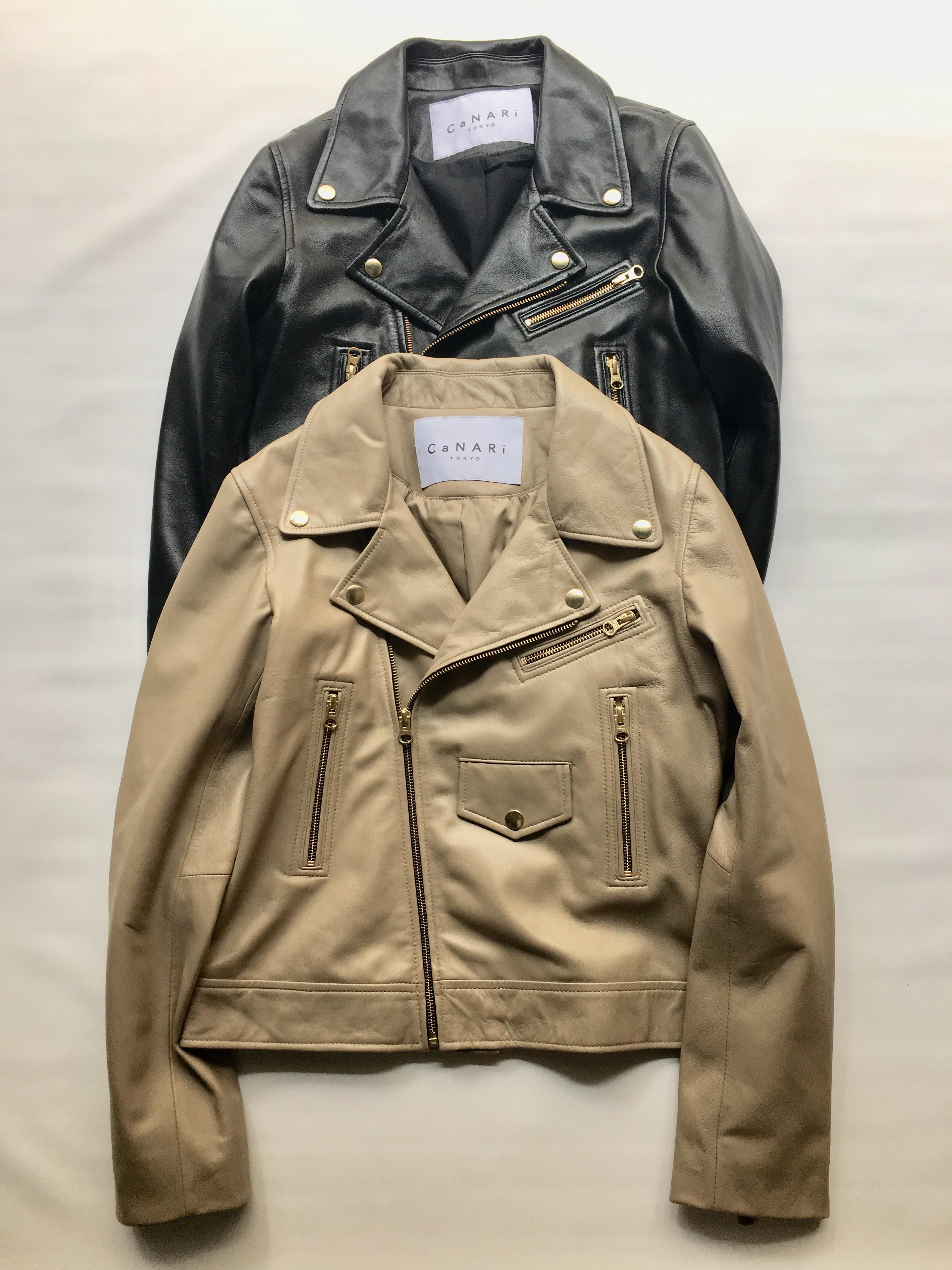 """CaNARi"" riders jacket (black.beige)"