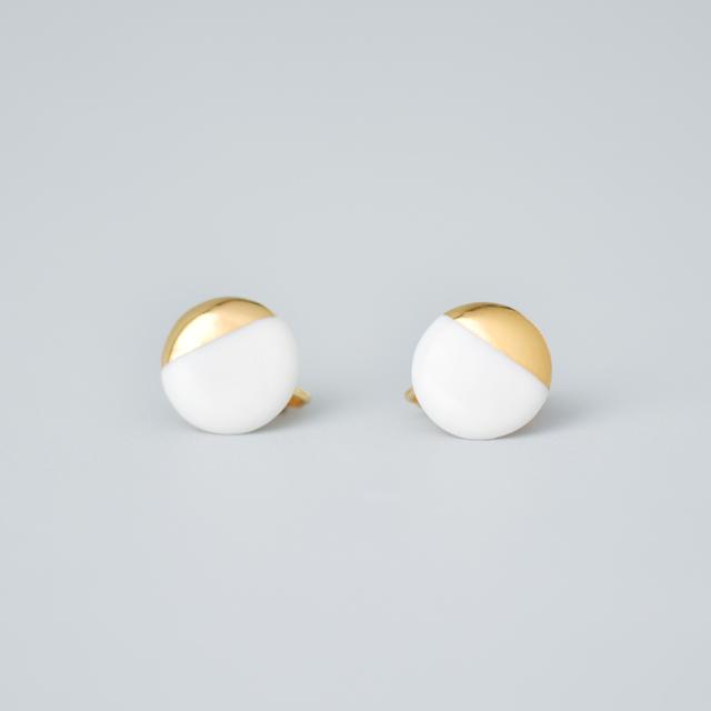 白磁金彩イヤリング- サークル・ブライトゴールド