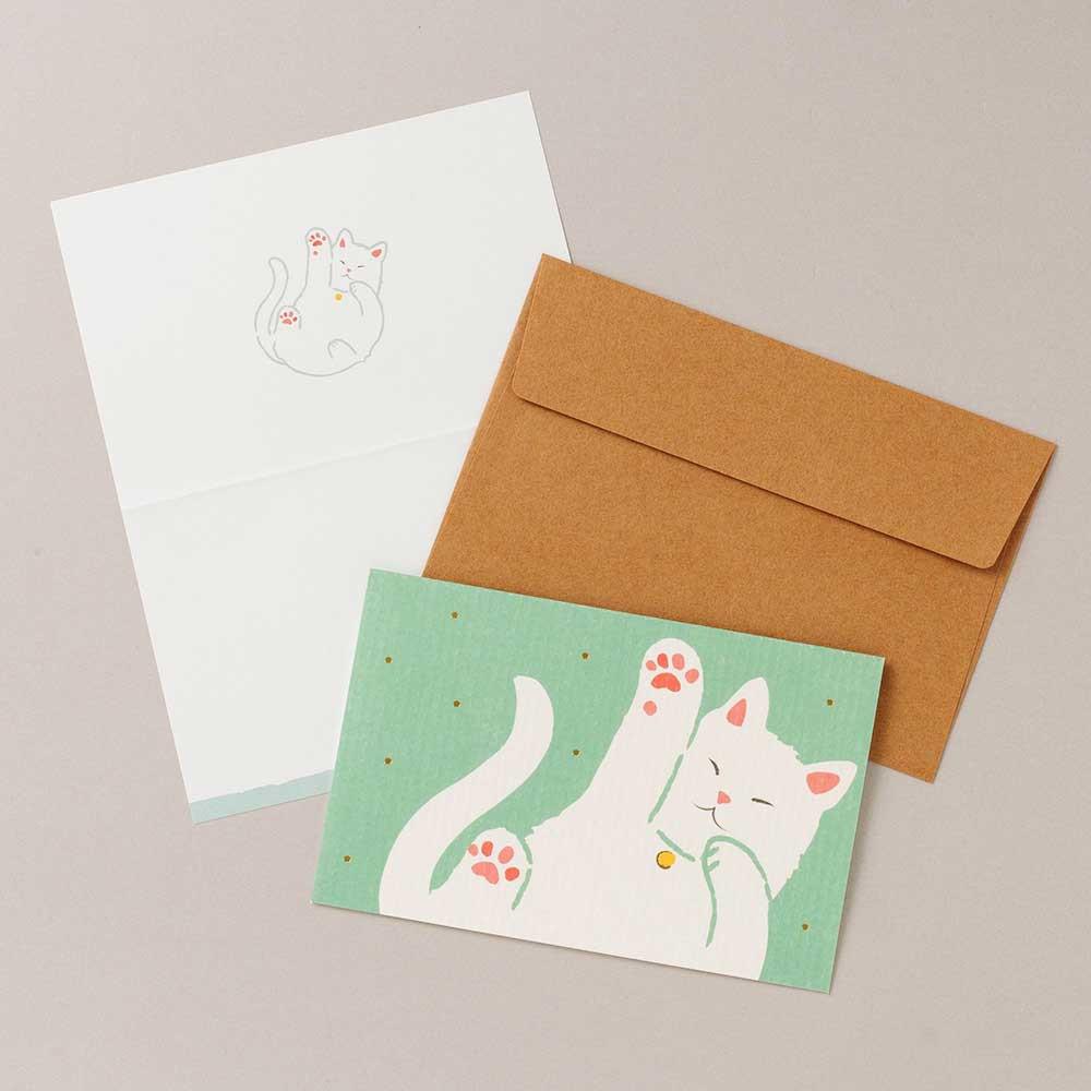 猫グリーティングカード(白猫)