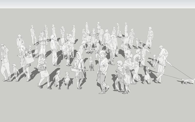 人物線画SketchUp素材 4up_line01_20_4 - 画像1