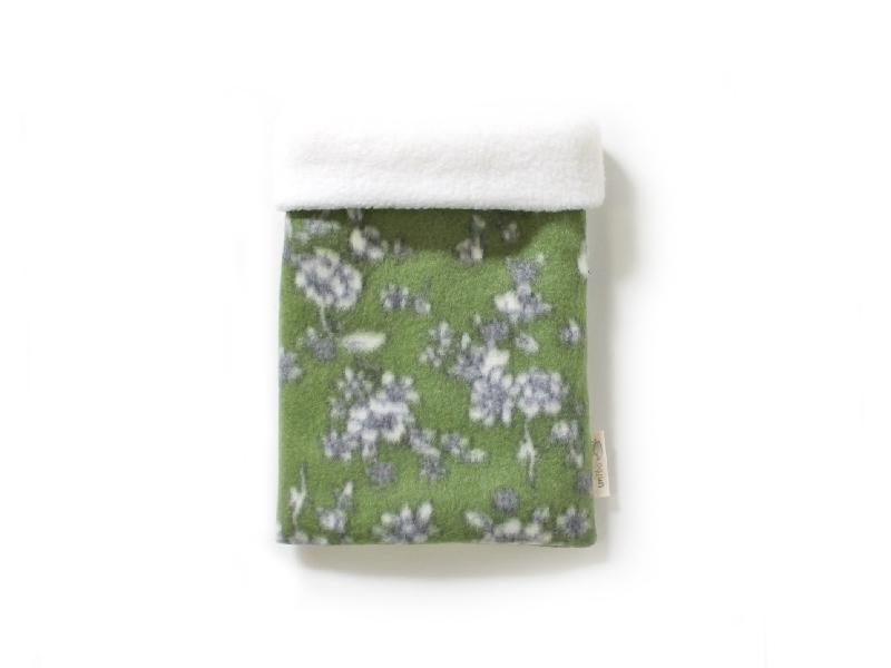 ハリネズミ用寝袋 S(冬用) フリース×フリース 芍薬 緑