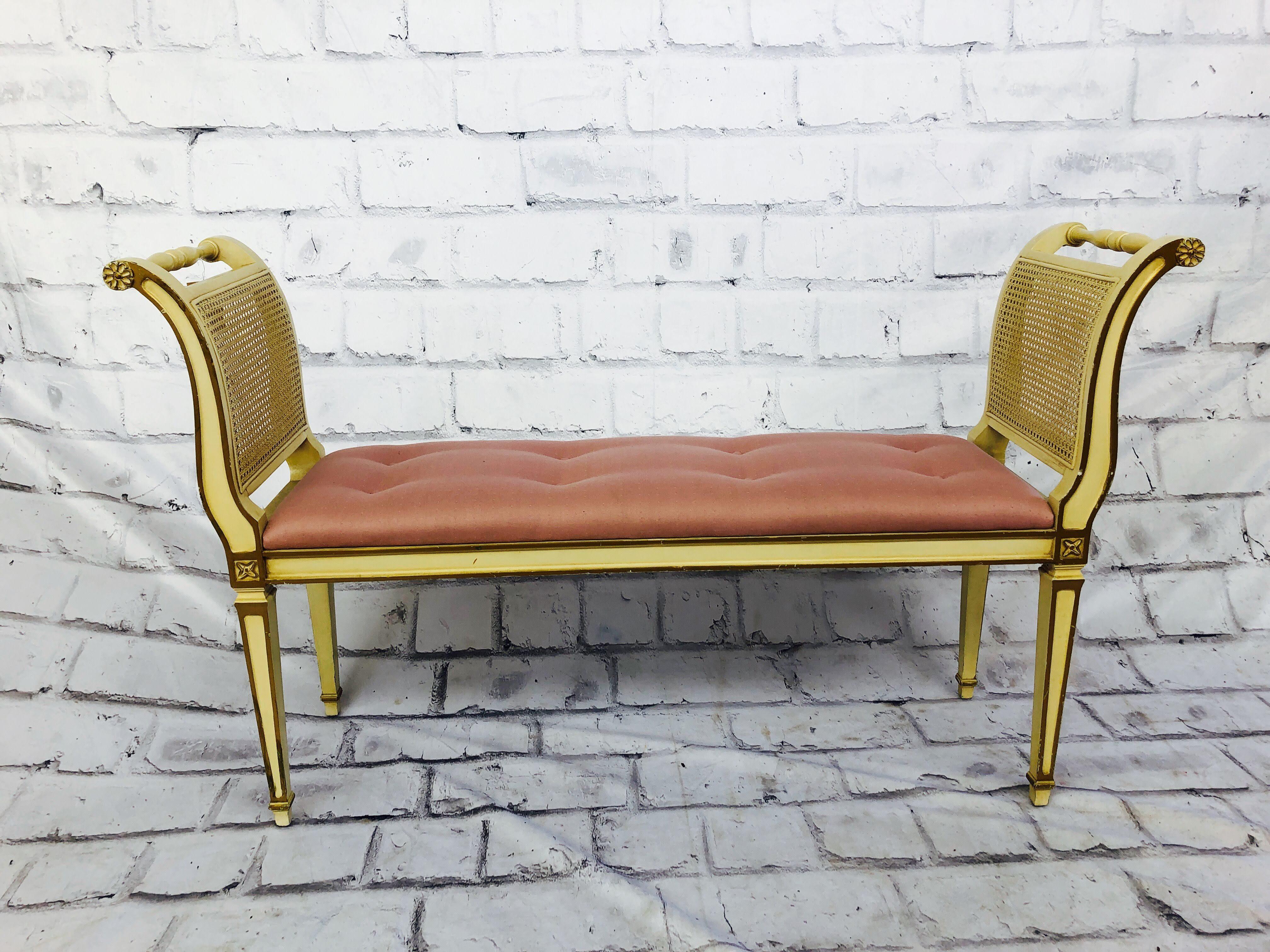 品番2659 ロングスツール ベンチソファ チェア ピンク 椅子 木製 アンティーク