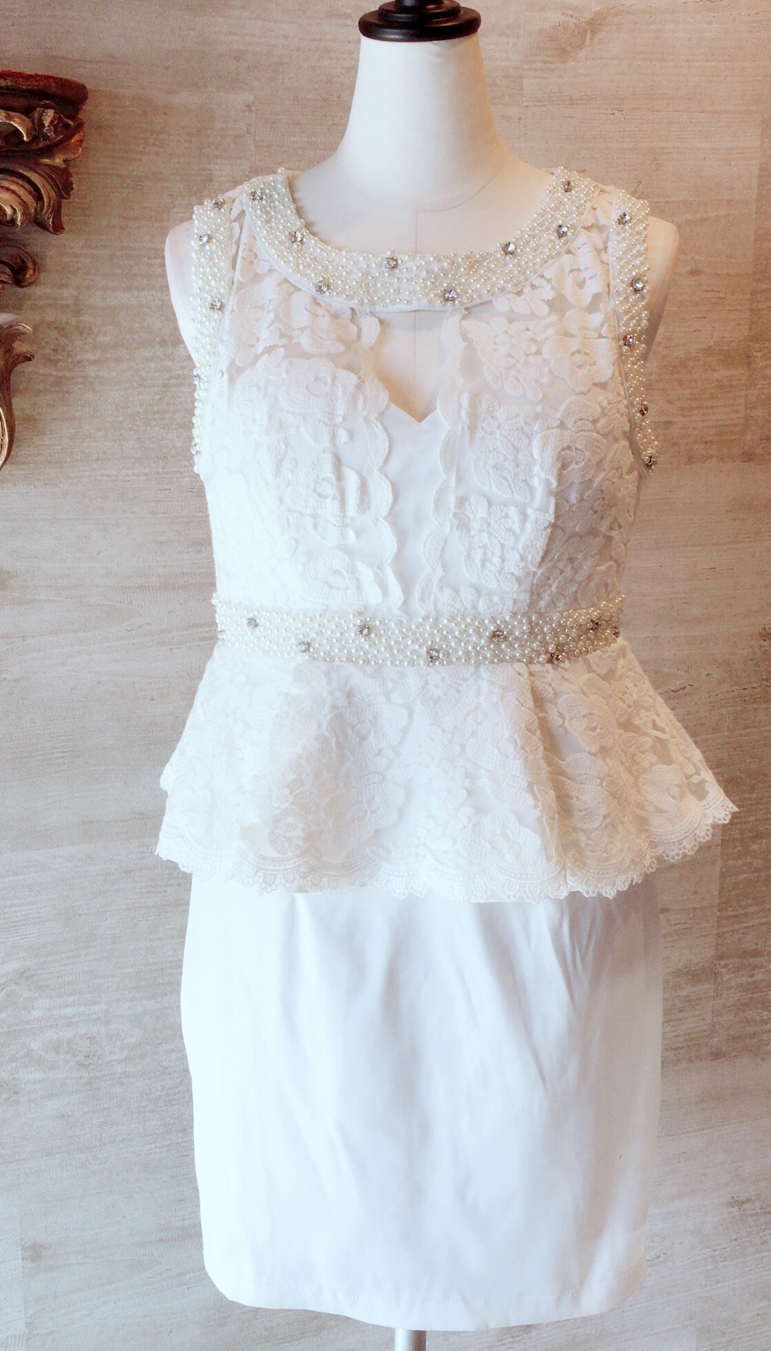 【ROSES OUTLET】コットンレースぺプラムドレス