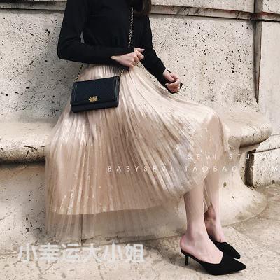 【O即納】83_05ベロア × チュール スカート ロング プリーツスカート ウエストゴム