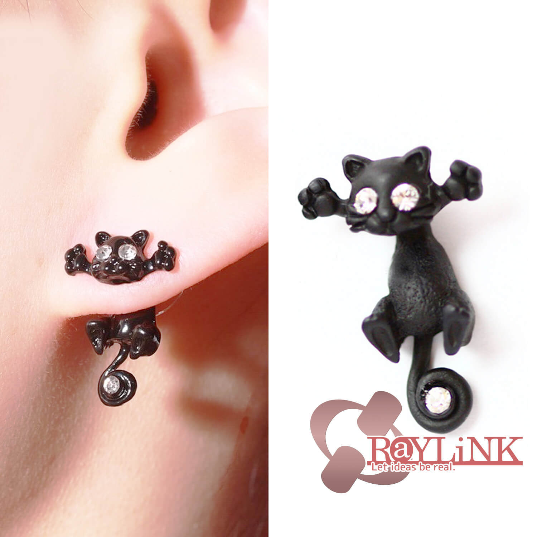 【ピアス】黒猫デザイン スタッドピアス Vol.1