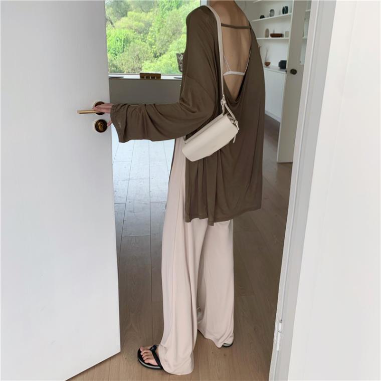 【送料無料】 カジュアル&セクシー♡ 大人っぽ 透け感 バックオープン オーバーサイズ シャツ × ワイド パンツ 2点セット