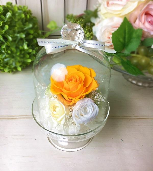 【母の日】プリザーブドフラワークリスタルドーム Yellow【贈り物に】