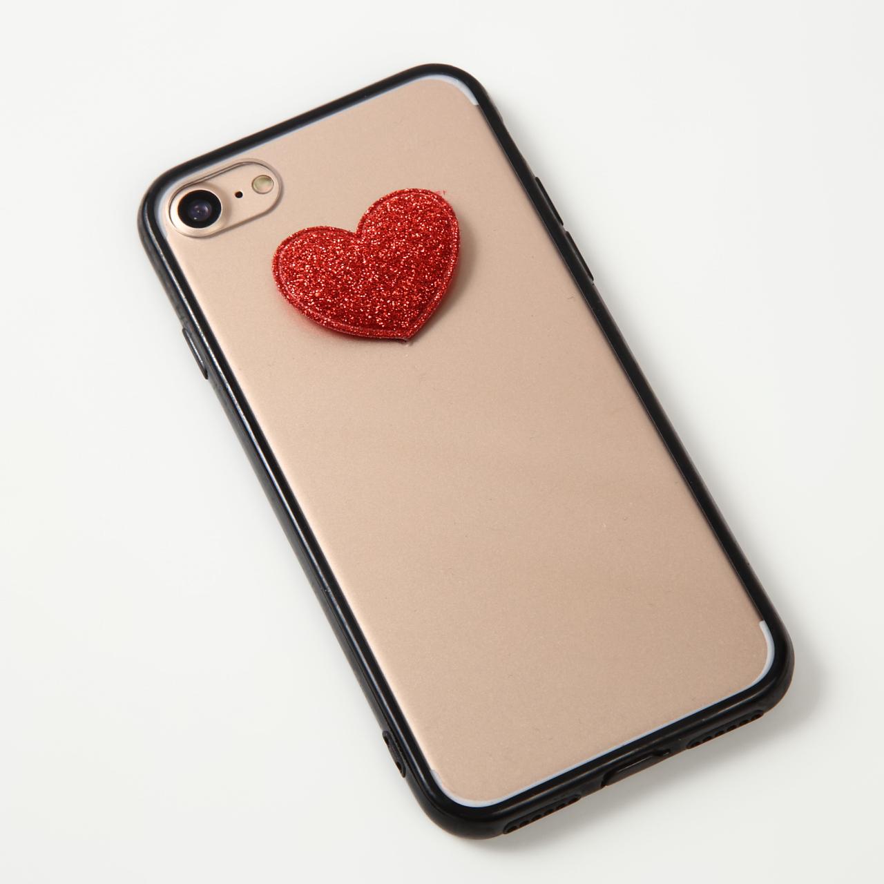 【即納★送料無料】縁ブラッククリアケースにかわいいハート付iPhoneケース