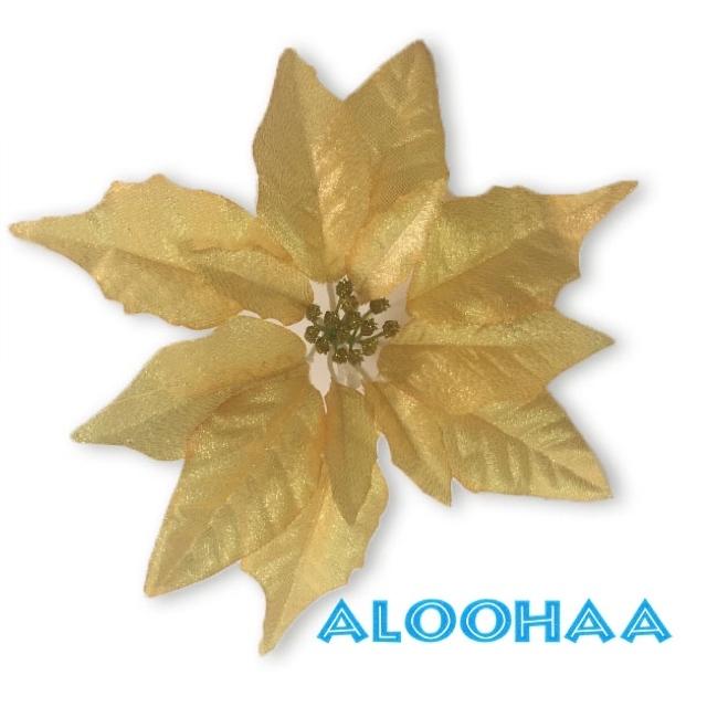 ポインセチア 25cm 造花 メタリックゴールド フェイクフラワー