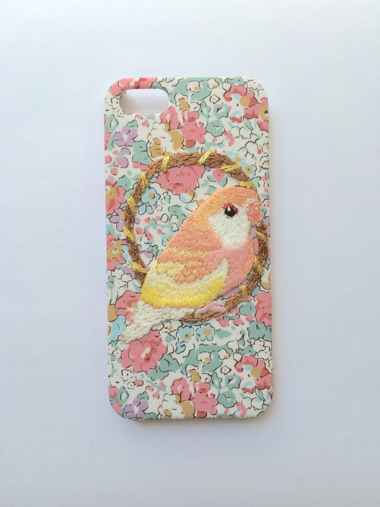 【再入荷】刺繍iPhone5/5sケース アキクサインコ【リバティプリント】