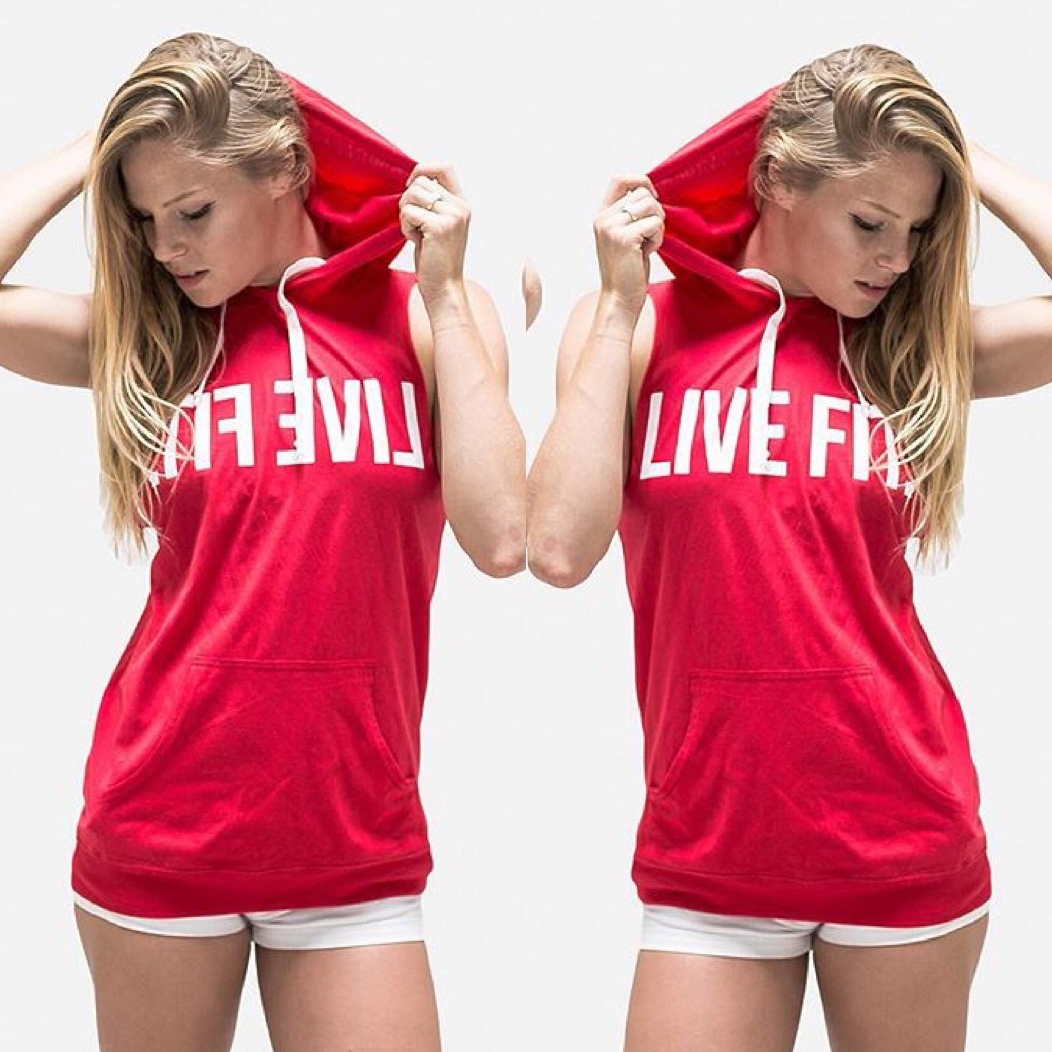LIVE FIT Original Cut Off Hoodie-red