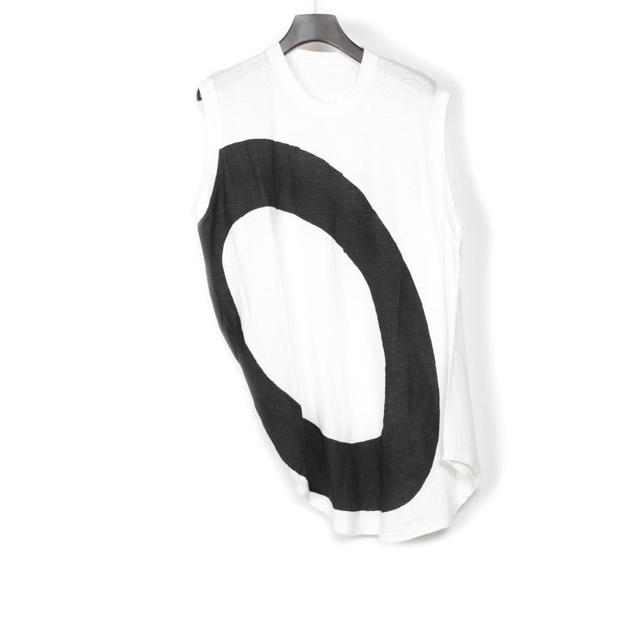 697CUM11-P-WHITE / サイドドレープノースリーブシャツ