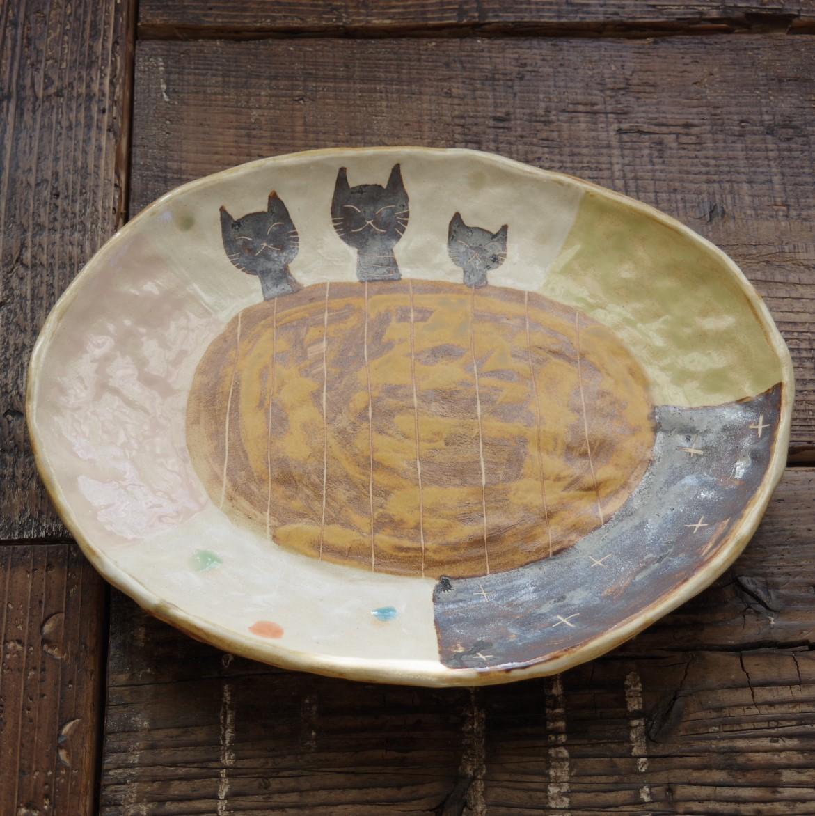 やちむん【小澤早苗】楕円大皿